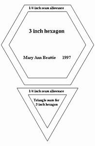 pattern for quilting 3 hexagon and triangle mate With 3 inch hexagon template