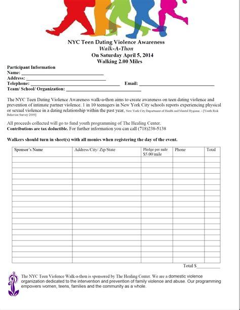 Walk A Thon Pledge Form Template