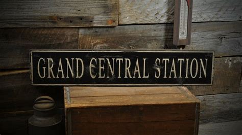 Grand Central Station Sign Primitive Rustic Hand Made