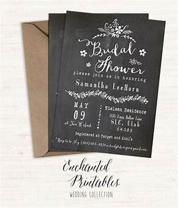 chalkboard bridal shower invitation printable bridal With free printable vintage wedding shower invitations