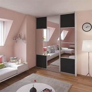 porte de placard coulissante gris graphite miroir spaceo With porte de douche coulissante avec spot miroir salle de bain
