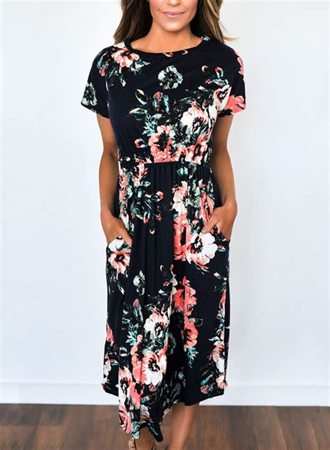s casual sleeve floral printed midi dress