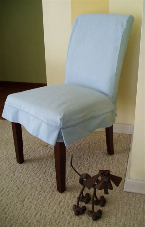 parson chair slipcover blue canvas dining chair by