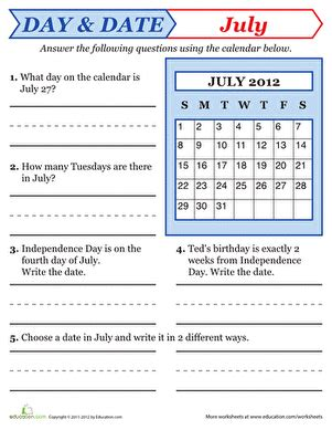 reading a calendar worksheet education com