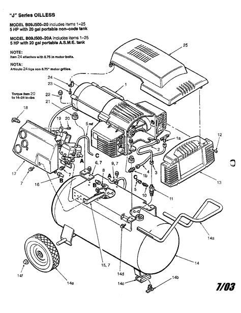 coleman 5 h p air compressor parts model b09jl50020a