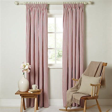 ticking curtains striped pencil headed red white
