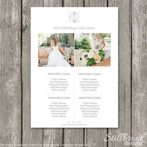 wedding photographer cost price list photography pricing and templates on