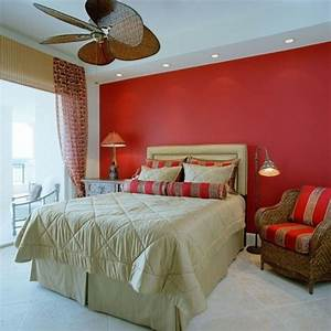 Amazing bedroom decor with red wall paint and red brown for Amazing options for accent wall ideas