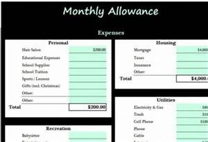 Macro Planner Monthly Allowance Template My Excel Templates