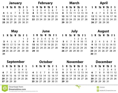 A Calendar For 2009 And 2020 Stock Image