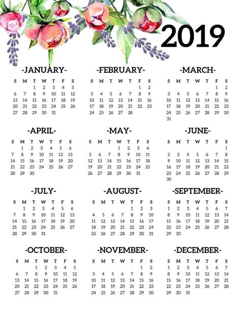 printable calendar yearly page floral diy crafts