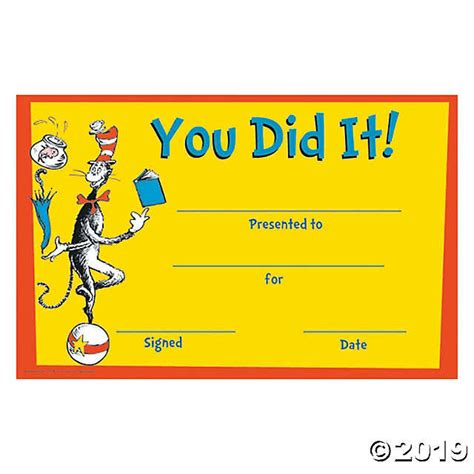 Dr Certificate Template Dr Seuss You Did It Certificates