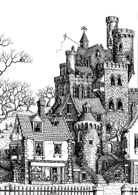 architecture castle architecture adult coloring pages