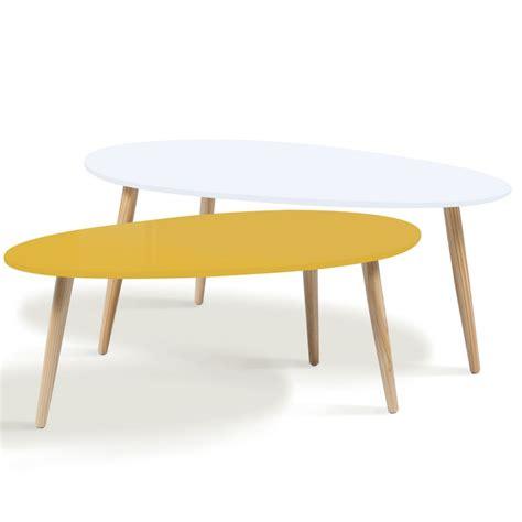 Table Gigogne Scandinave Lot De 2 Tables Basses Gigognes Laqu 233 Es Jaune Blanc Scandinave Meu
