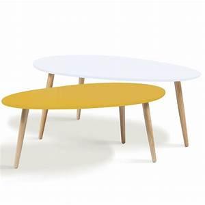 Table Basse Gigogne Scandinave : lot de 2 tables basses gigognes laqu es jaune blanc ~ Voncanada.com Idées de Décoration