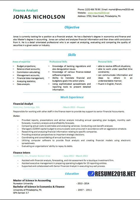 free resume templates 2018 finance analyst resume templates 2018 resume 2018
