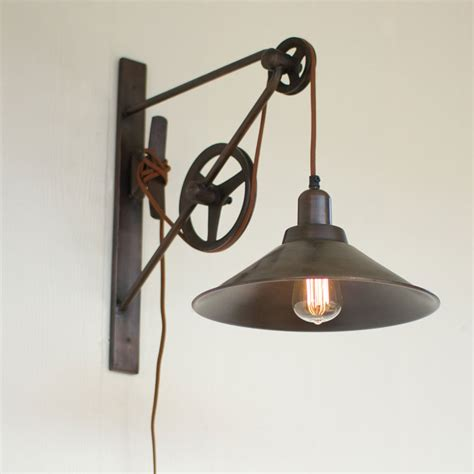 double pulley wall sconce iron accents
