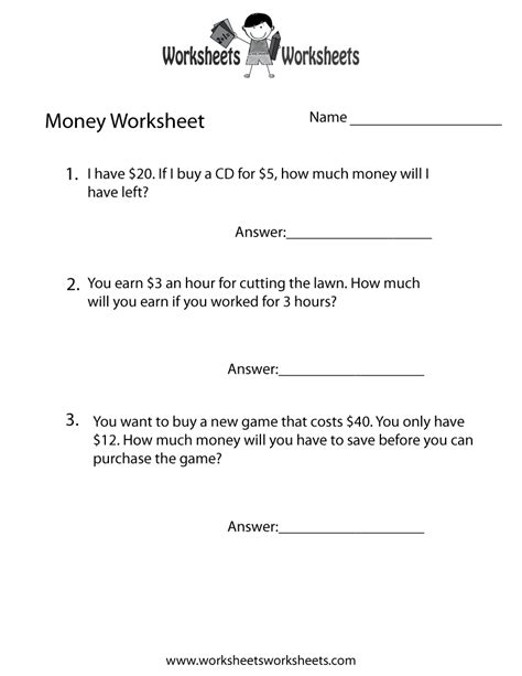 money word problems worksheet free printable educational