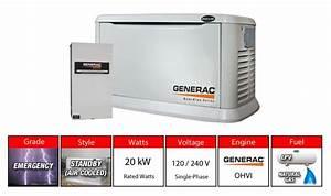 Generac 6244 20kw Aluminum Standby Generator System 200a