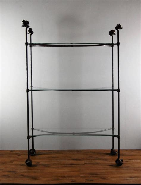 Wrought Iron And Glass Apothecary Display Shelf For Sale