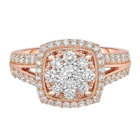 1 ct tw multi diamond engagement ring in 10k rose gold