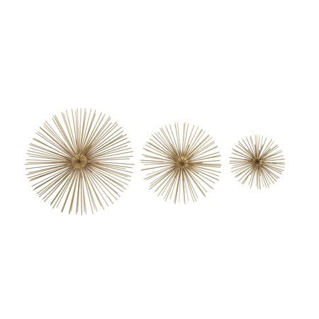 Bejeweled starburst mirror wall decor with shimmering metallic accents product sku: DecMode Metallic Gold Starburst Modern Metal Wall Décor | Set of 3 - Walmart.com