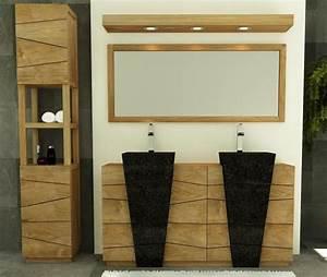 achat vente meuble de salle de bain rhodes walk meuble With salle de bain design avec double vasque pierre noire