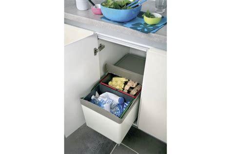 poubelle meuble cuisine poubelle tri 2 bacs ouverture automatique 32l accessoires