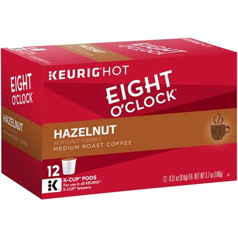 Rich and playfully sophisticated, this 100% arabica blend a treat you can enjoy anytime. Eight O'Clock Coffee Hazelnut K-Cup Packs Coffee (0.31 oz) - Instacart