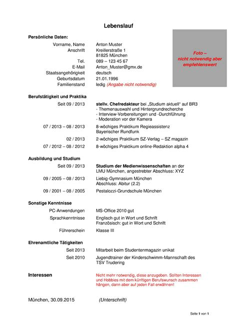 Muster Für Einen Lebenslauf by Was Geh 246 Rt In Einen Lebenslauf Lebenslauf Beispiel