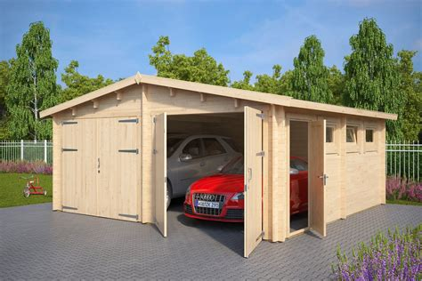 Wooden Double Garage E With Double Doors  44mm  5,5 X 5