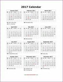 2017 Calendar with Holidays