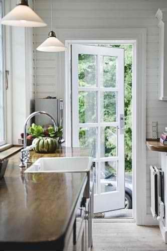 Exterior Kitchen Door With Window by A Single Door From Kitchen To Deck