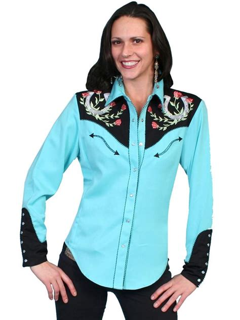 scully ladies vintage western shirt lucky horseshoes