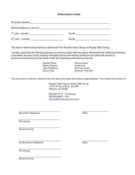 sle of authorization letter authorization letter to act on my behalf template