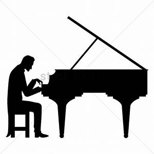 Silhouette of man playing piano Vector Image - 1501264 ...
