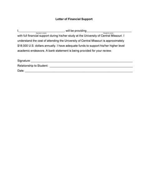 letter of financial support 40 proven letter of support templates financial for 10039