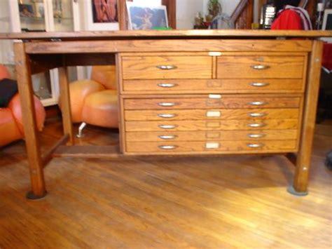 vintage industrial oak mayline drafting table  blueprint