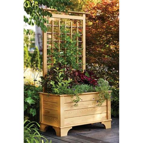 garden planter box  trellis wood magazine