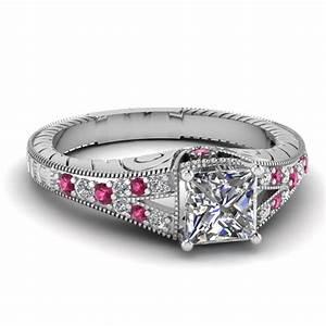 Vintage engraved split princess cut diamond engagement for Princess cut pink diamond wedding rings