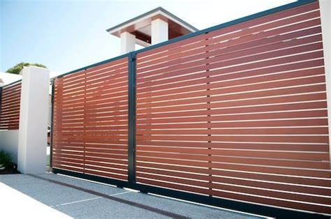 double sliding smartwood faux timber slat driveway gates