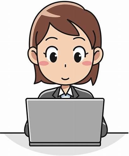 Clipart Clip Laptop Female Computer User Woman