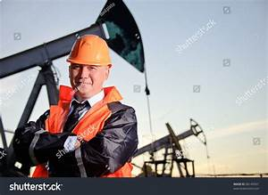 Oil Worker Orange Uniform Helmet On Stock Photo 86145931 ...