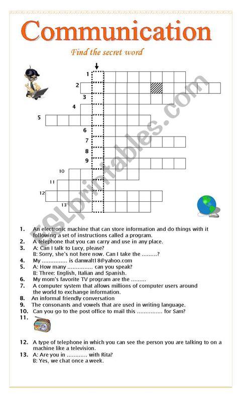 communication crossword esl worksheet  pink virginia