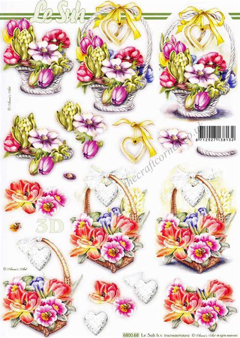 basket  flowers die cut  decoupage sheet  le suh