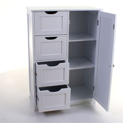 White Cabinet With Drawers by 4 Drawer Cabinet Bathroom Storage Unit Chest Cupboard
