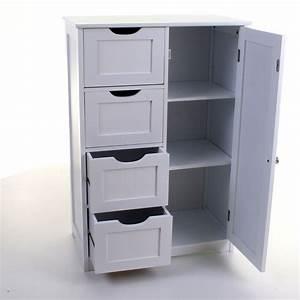 4, Drawer, Cabinet, Bathroom, Storage, Unit, Chest, Cupboard, White, Stylish, Modern, Draw