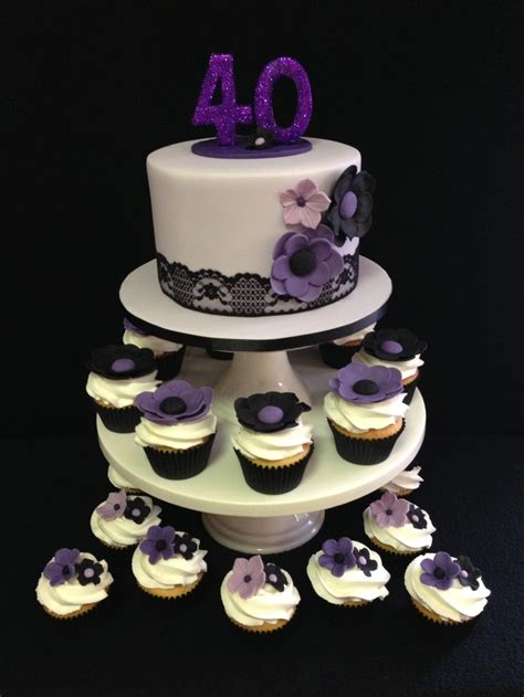 40th birthday decorations purple 40th birthday cake and cupcakes color combination of
