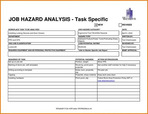 job safety analysis template shatterlioninfo