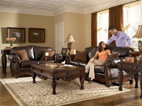 Model Living Room Set by World Living Rooms Leather Brown Traditional